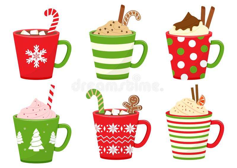 Winter holiday cups with drinks. Mugs with hot chocolate, cocoa or coffee, and cream. Gingerbread man cookie, candy cane, cinnamon royalty free illustration
