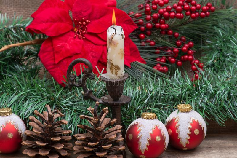 Winter holiday decoration: Blooming Red Poinsettia, Pine, Berry bush, Christmas tree balls, pine cone, walnuts and burning candle. On wooden background stock photo