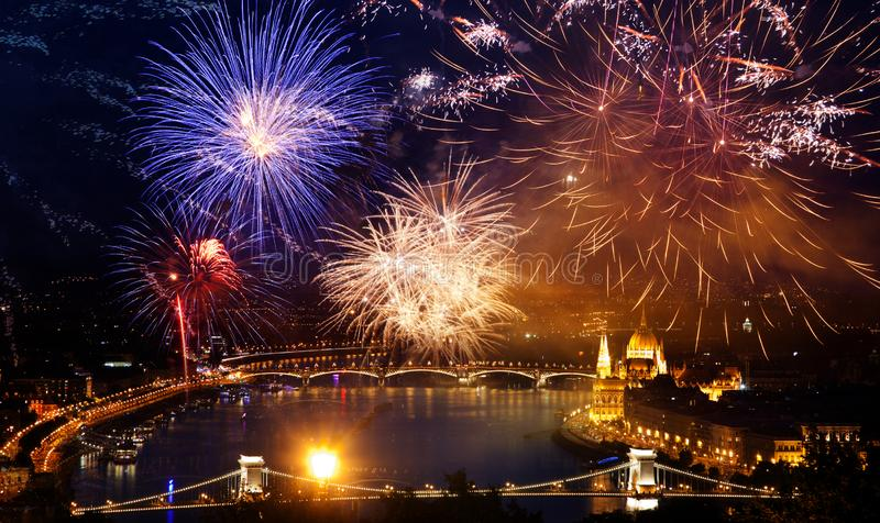 Winter holiday destination Budapest fireworks over Hungarian parliament - New Year in the city stock images