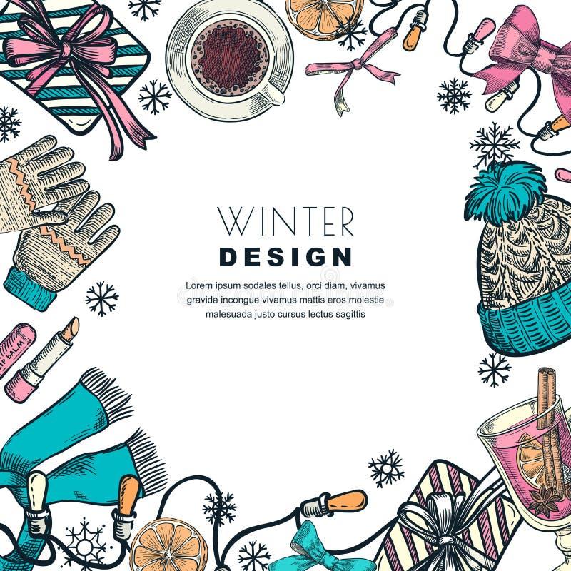Winter holiday frame. Vector color sketch illustration. Banner or poster design template stock illustration