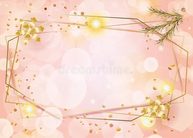Coral color peach marble, bokeh lights background Gold geometric frames with gold snowflakes royalty free illustration