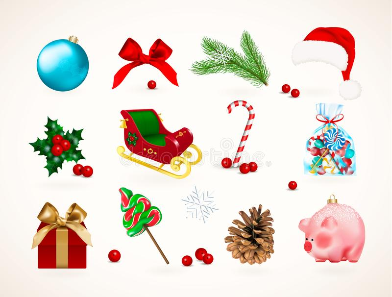 Winter holiday icons. Set of Christmas Santa Claus sleigh, Bauble, bow, goft box, piggy toy, pine branch, cone, holly, red berries royalty free illustration