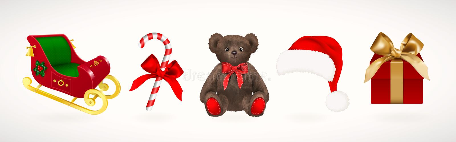 Winter holiday icons. Set of Christmas Santa Claus sleigh and hat, gift box with golden ribbon, candy cane and teddy bear toy with royalty free illustration