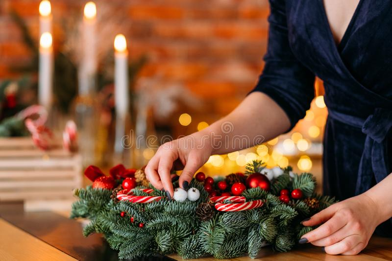 Winter holiday party lady christmas wreath home royalty free stock photography