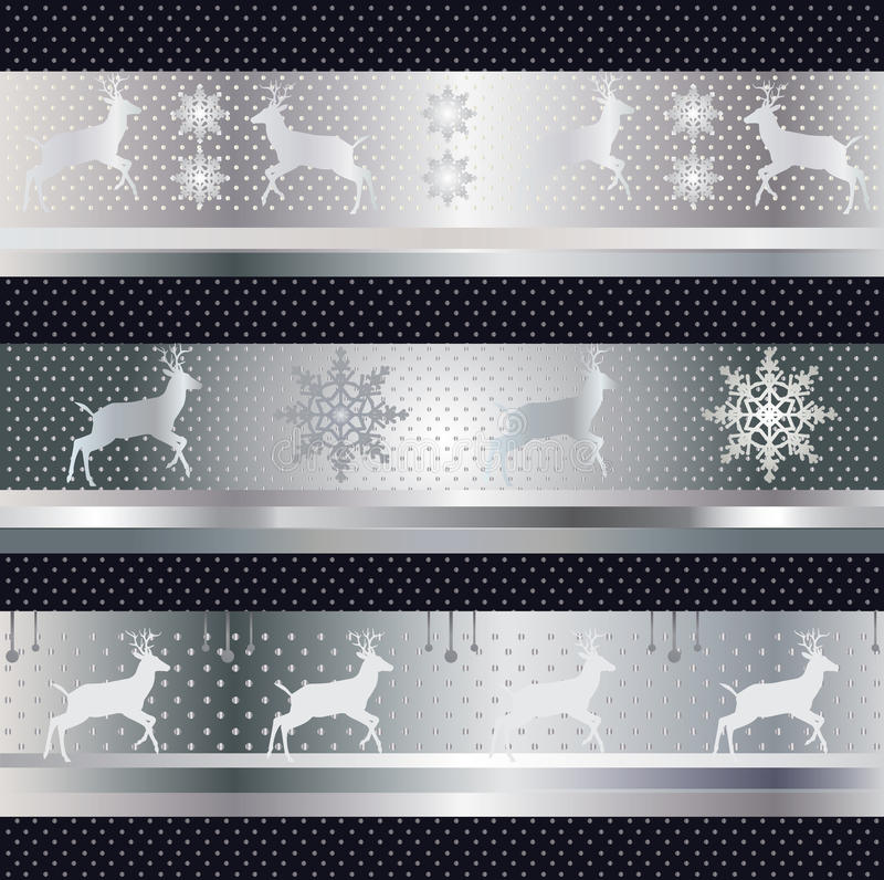 Winter holiday pattern vector. Winter holiday pattern, vector file with reindeer and snowflake on silver background. Decorative celebration art. File organized stock illustration