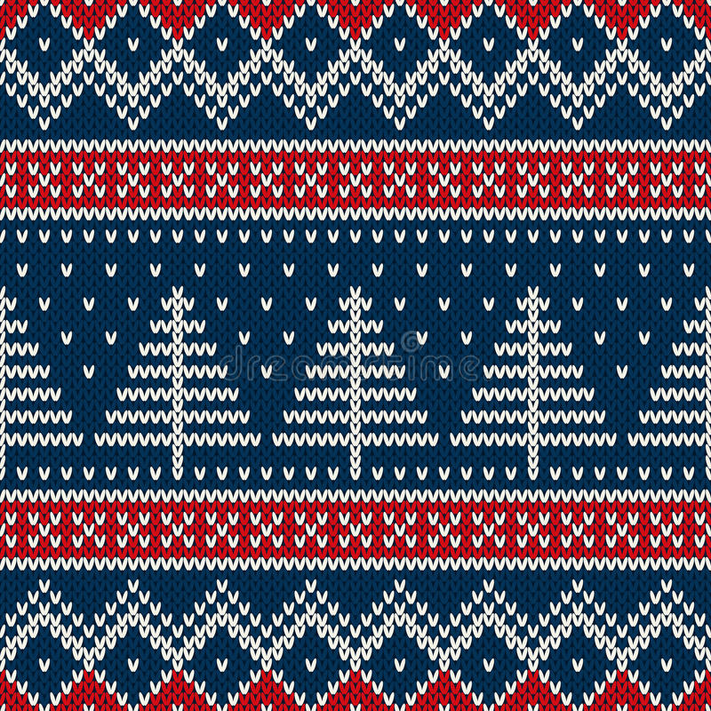 Winter Holiday Seamless Knitted Pattern With Christmas