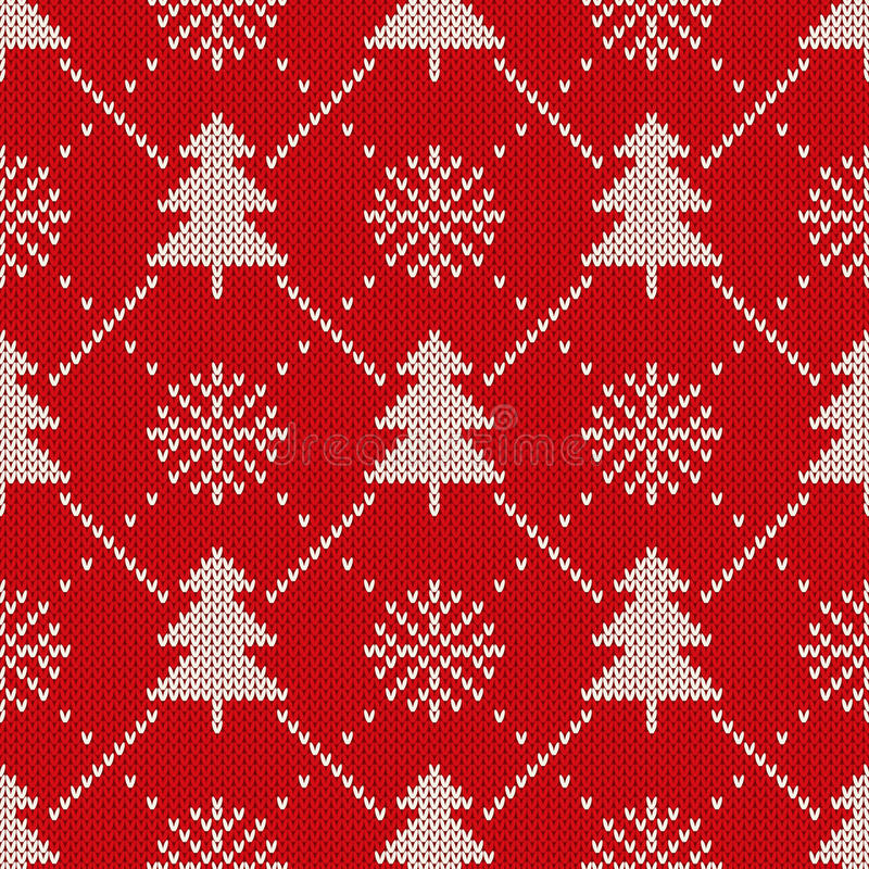 Winter Holiday Seamless Knitting Pattern With A Christmas Trees And