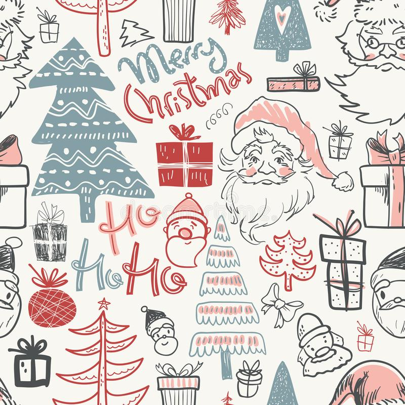 Winter holiday seamless pattern with doodle hand drawn Santa, tr royalty free illustration