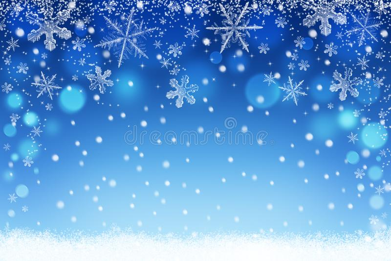 Winter holiday snow bokeh background. Abstract christmas defocused backdrop with snowflakes stock illustration
