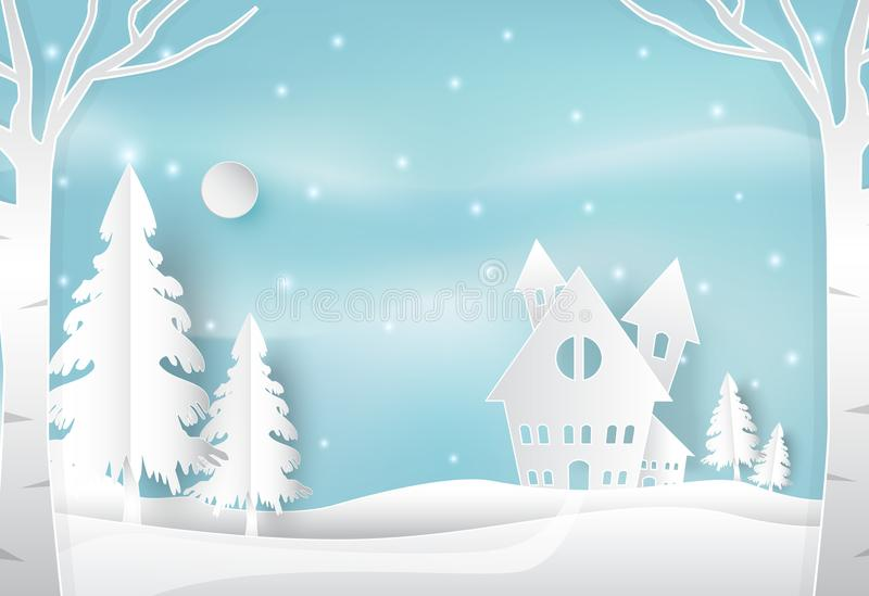Winter holiday and snow in countryside with blue. Christmas seas vector illustration