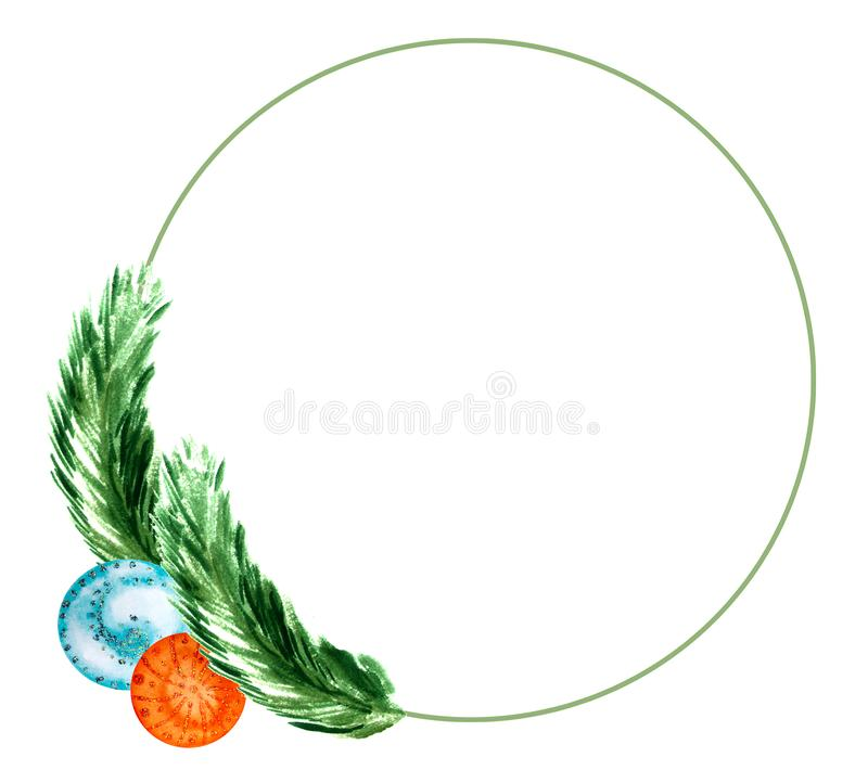 Winter holiday wreath of branches of christmas tree, decorative blue and orange balls. Watercolor. Winter holiday circle wreath of branches of christmas tree vector illustration
