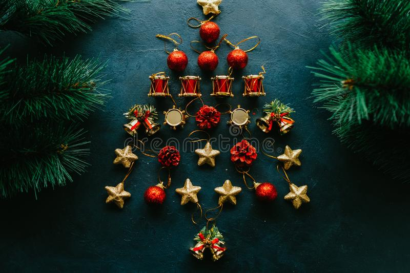 Winter holidays abstract christmas tree ornament stock photo