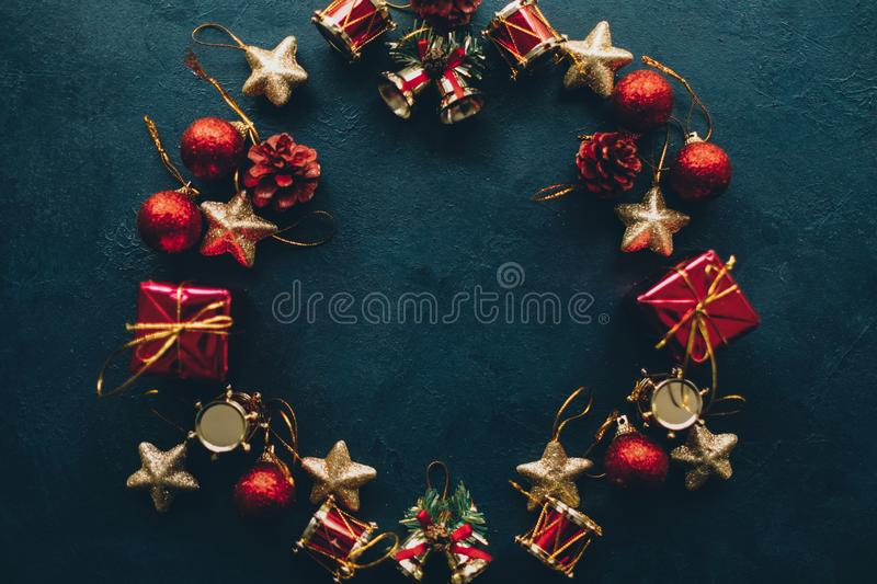 Winter holidays abstract christmas wreath frame royalty free stock images