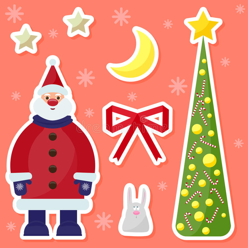 winter holidays background with cute funny cartoon Santa Claus,rabbit, fir, moon and stars on the bright colored cover vector illustration
