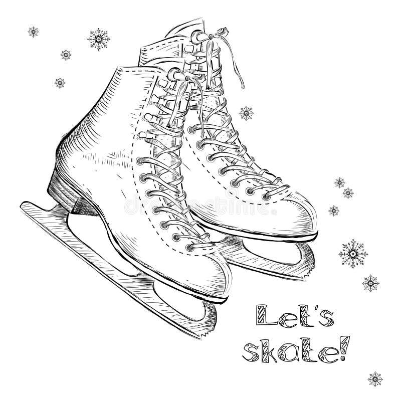 Winter Holidays Card With Ice Skates Cartoon Sketch. Hand