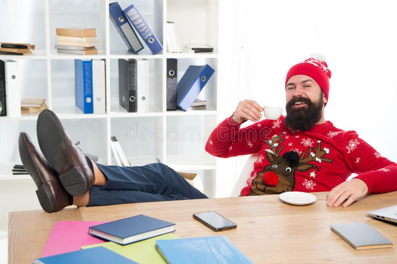 Winter holidays. Celebrate xmas. Christmas holidays. Relax and rest concept. Finally holidays. Man bearded manager in royalty free stock photos