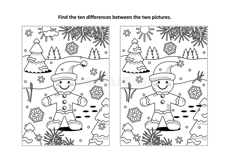 Find the differences visual puzzle and coloring page with ginger man royalty free illustration