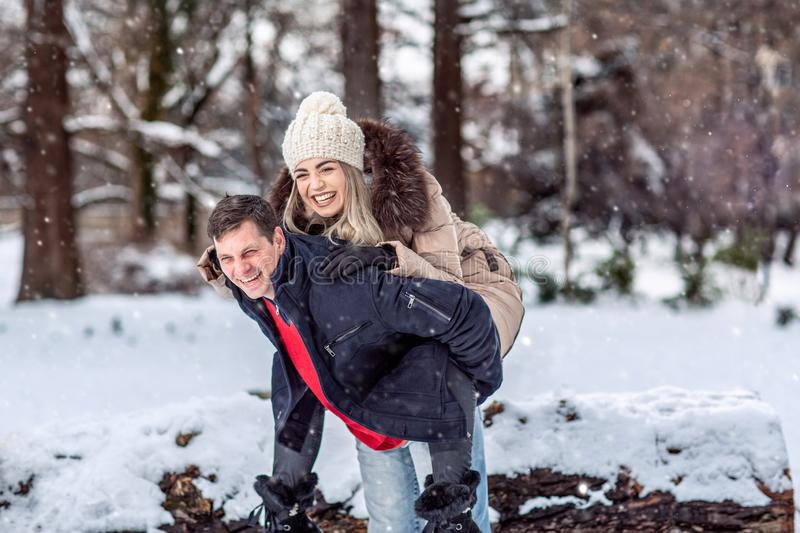 Winter holidays, Christmas and people concept – Happy Young Co royalty free stock photo