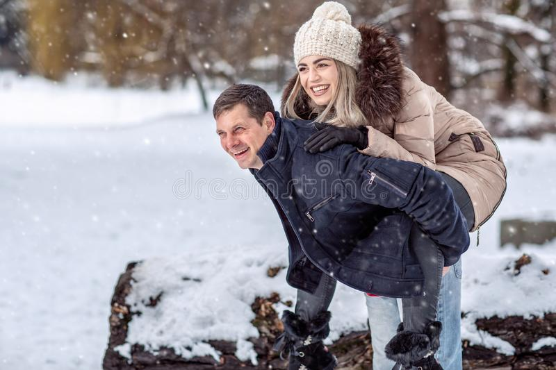Winter holidays, Christmas and people concept – loving Young C royalty free stock photos