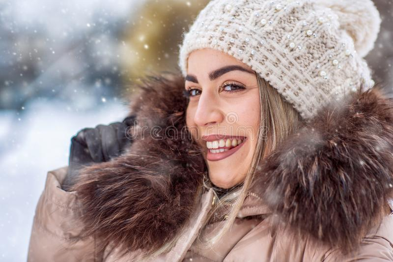 Winter holidays, Christmas and people concept – Smiling woman stock images