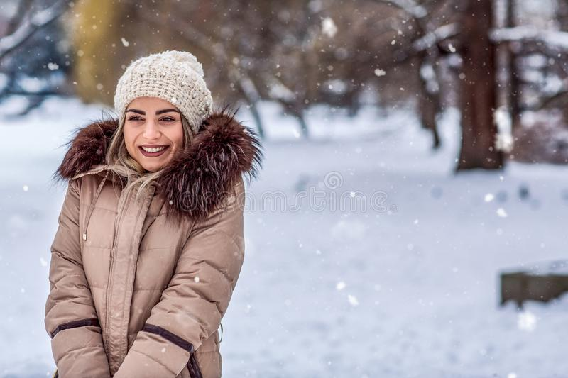 Winter holidays, Christmas and people concept – Smiling woman royalty free stock photo
