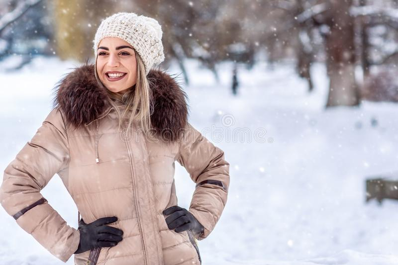 Winter holidays, Christmas and people concept – Smiling woman stock photography