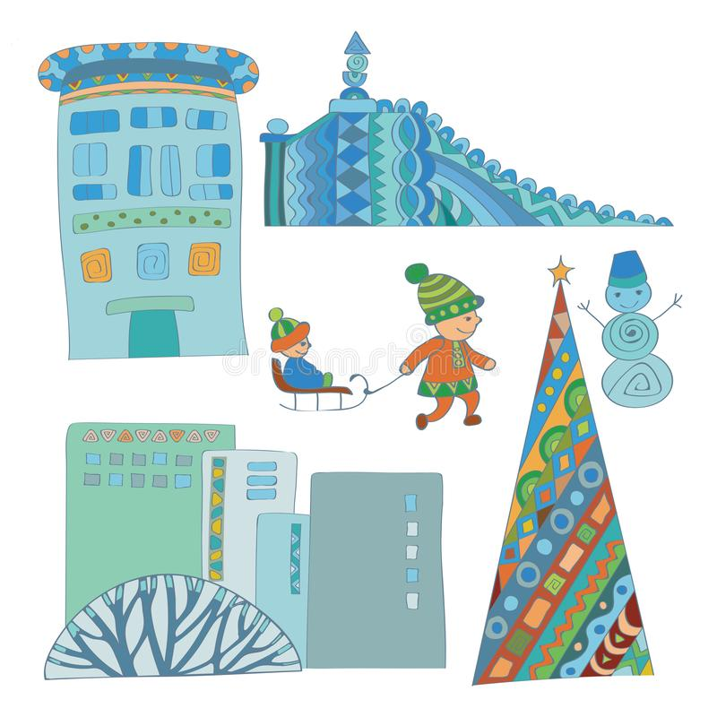 Winter holidays. Christmas tree in the city illustration royalty free stock photography