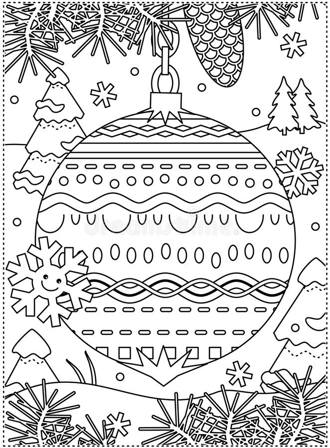 Winter holidays coloring page with decorated ornament royalty free illustration