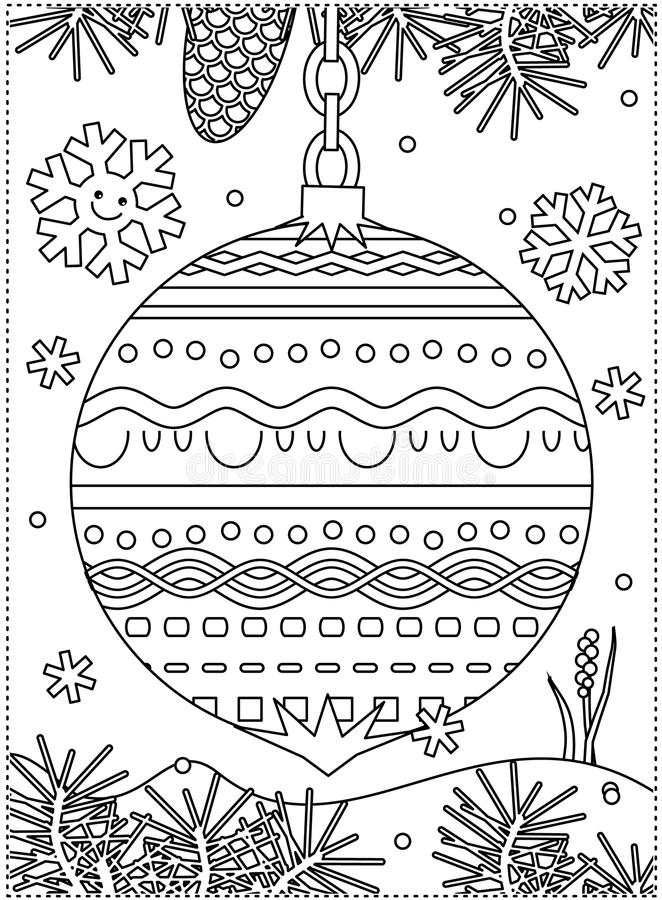 Winter holidays coloring page with decorated ornament vector illustration