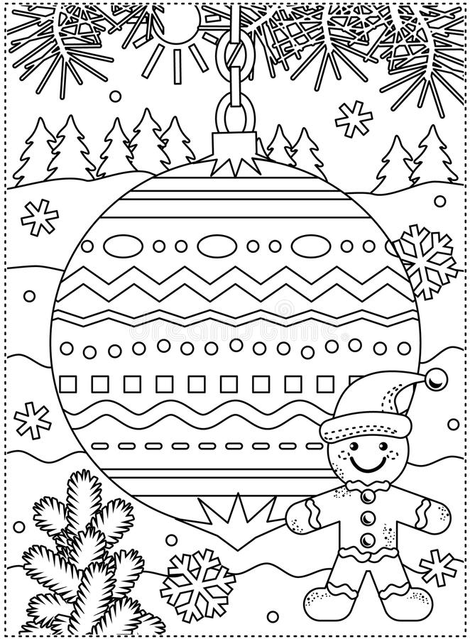 Winter holidays coloring page with decorated ornament and ginger man vector illustration