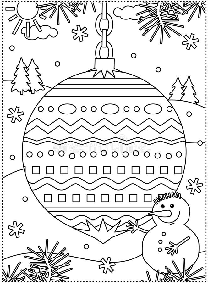 Winter holidays coloring page with decorated ornament and snowman royalty free illustration