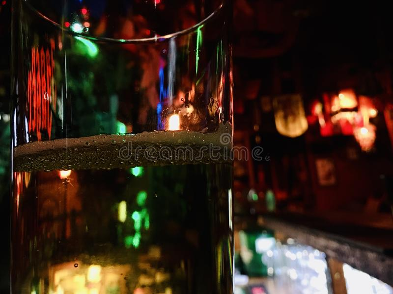 Winter holidays are coming, reflections and colors of the whole light of the room are visible in glasses, a festive mood. stock photo