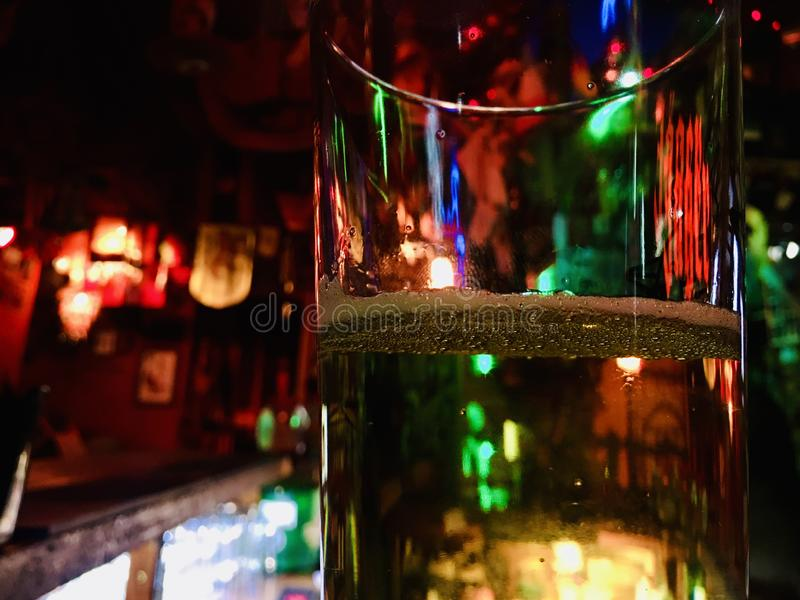 Winter holidays are coming, reflections and colors of the whole light of the room are visible in glasses, a festive mood. stock photography