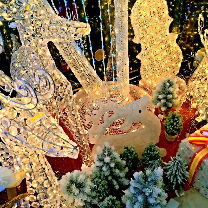 Winter holidays decoration of Christmas fair in stores in Manado city, North Sulawesi Indonesia stock photo
