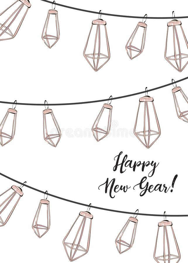Winter holidays design, Happy New Year social media decoration with trendy elegand hand-drawn garland. Geometric shape party royalty free illustration