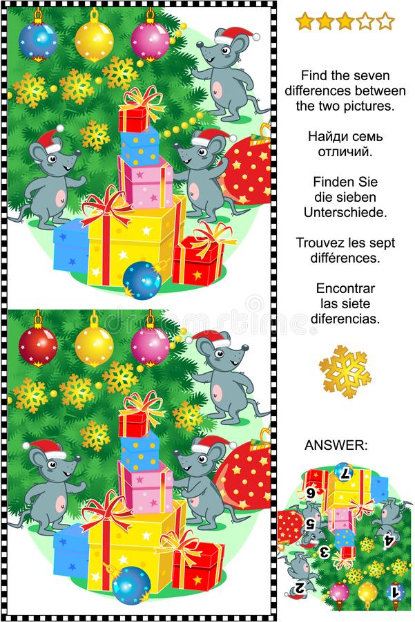 Winter holidays find the differences picture puzzle with mice, gifts, christmas tree. Winter holidays visual puzzle: Find the seven differences between the two vector illustration