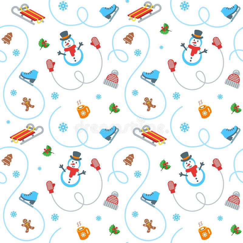 Winter holidays flat vector seamless pattern royalty free illustration