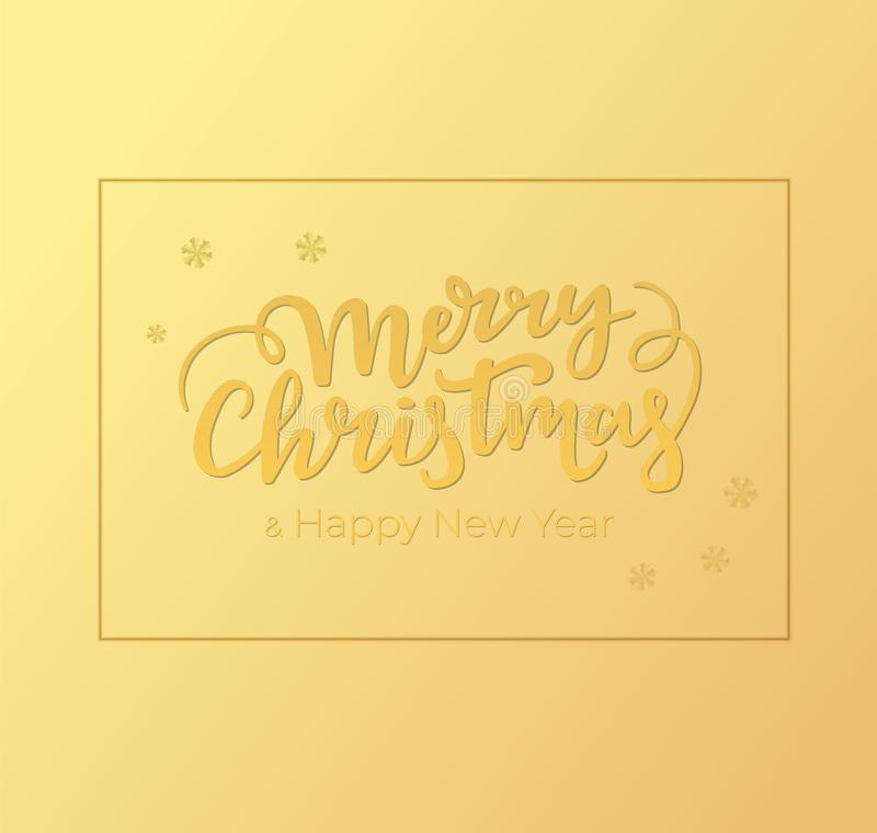 Winter holidays greeting card design with Christmas and New Year lettering, frame and background of golden foil. Winter holidays greeting card design with vector illustration