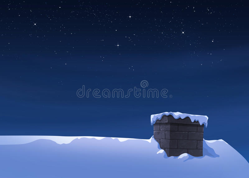 Winter holidays. Holiday winter landscape at night. Background with snowflakes on housetop stock illustration