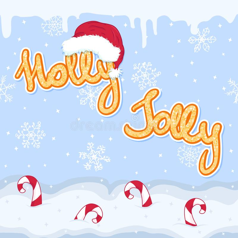 Winter holidays holly jolly gold slogan, new year and christmas greeting seamless banner with snow flakes, santa hat and candy royalty free illustration