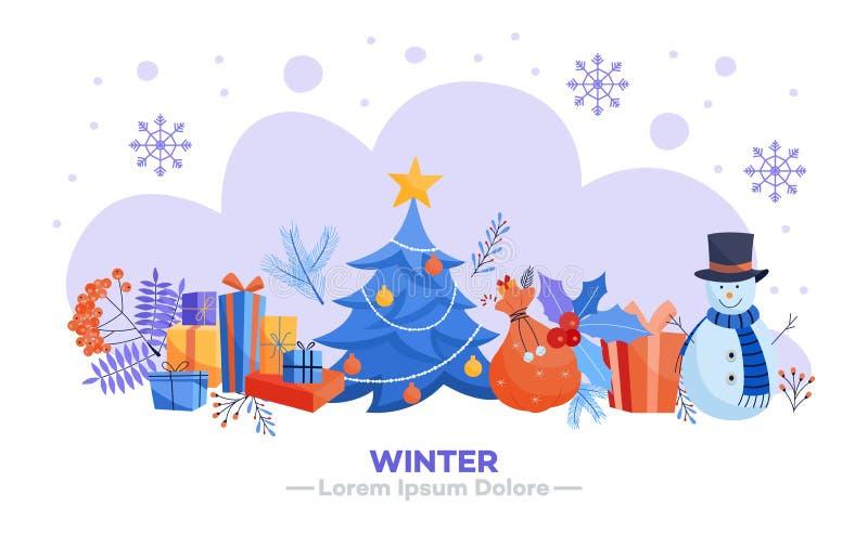 Winter holidays horizontal banner - various Christmas and New Year symbols. stock illustration