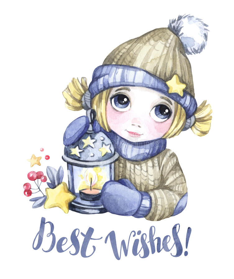 Winter Holidays Illustration. Watercolor Cute Girl With Christmas ...