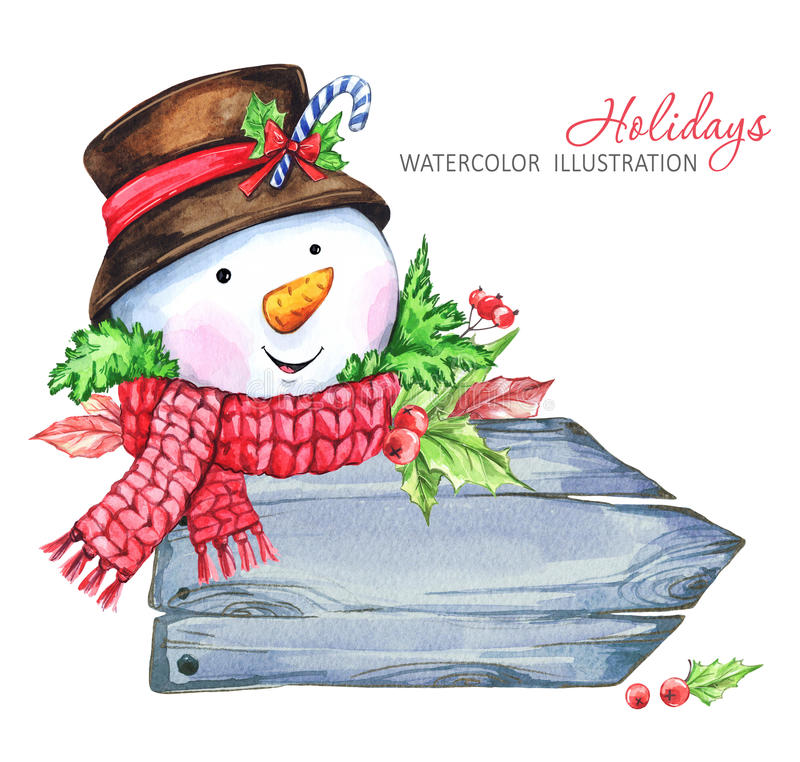 Winter holidays illustration. Watercolor wooden frame with Snowman. stock illustration