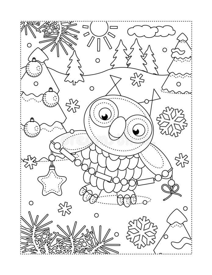 Coloring page with owl decorating christmas tree vector illustration