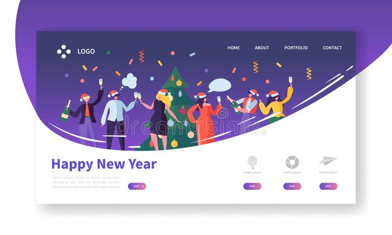 Winter Holidays Landing Page Template. Merry Christmas and Happy New Year Website Layout with Flat People Characters vector illustration