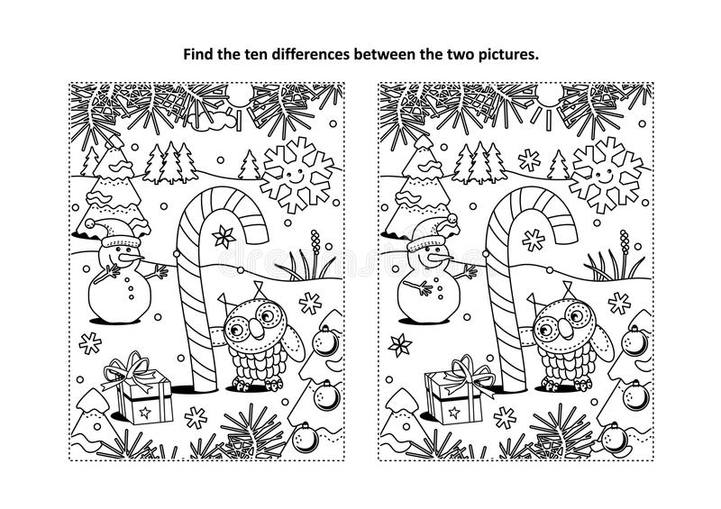 Find the differences visual puzzle and coloring page with magical candy cane vector illustration