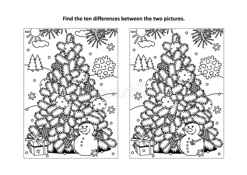 Find the differences visual puzzle and coloring page with christmas tree, snowman, gift stock illustration