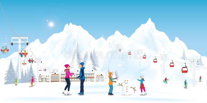 Winter Holidays Recreation Sport Activity royalty free illustration