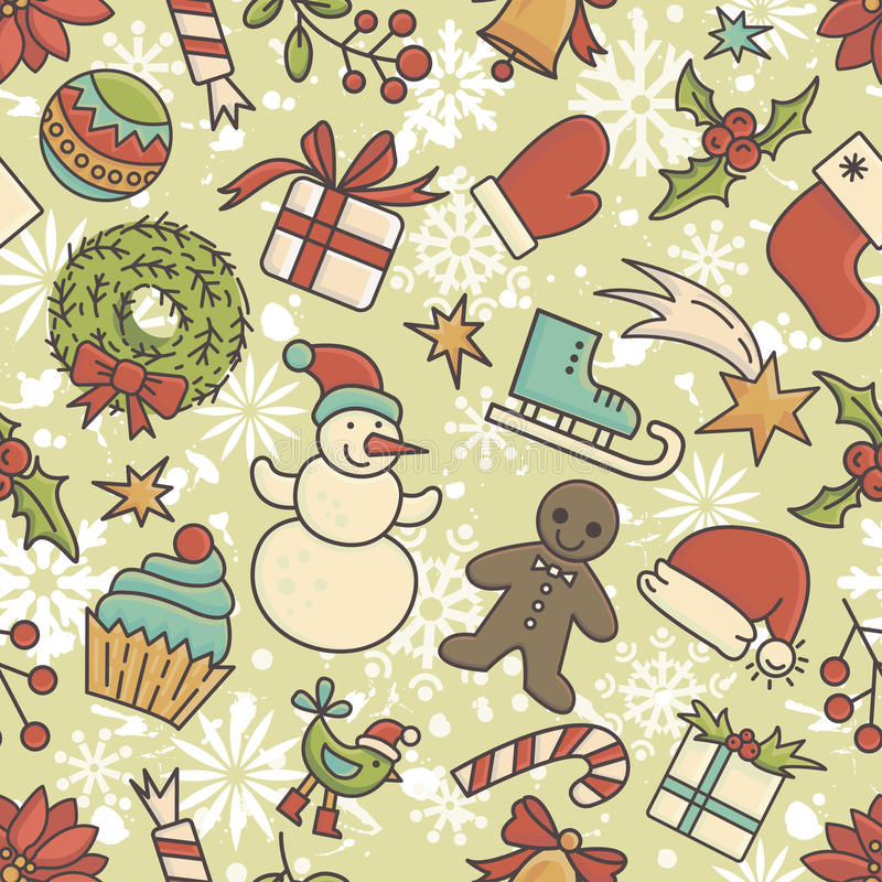 Winter holidays seamless pattern stock illustration