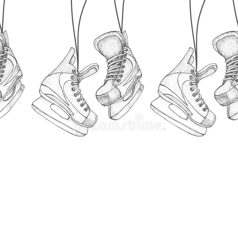 Winter holidays seamless pattern with ice skates cartoon sketch. Ice hockey skates. Hand drawn vector illustration isolated on vector illustration